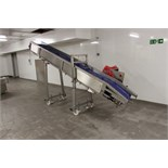 Plastic slatted flighted belt incline conveyor 4300mm x 500mm discharging at 2000m high