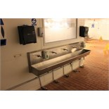 Stainless steel five station knee operated sink with 2 x towel dispensers