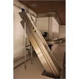 Stainless steel framed swan neck conveyor with flighted slatted belt conveyor 5m x 360mm
