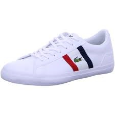 + VAT Brand New Lacoste Trainers UK Size 9 - White Red Navy - Leather & Synthetic - Eu Size 43 - US