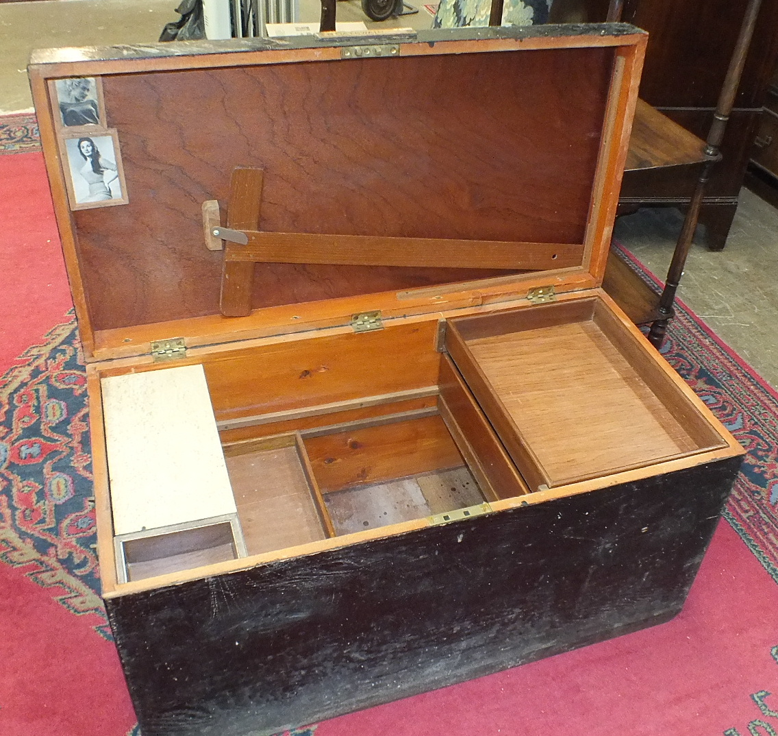 A stained pine tool box fitted with trays and brass carrying handles, 95cm wide, together with a - Image 2 of 3