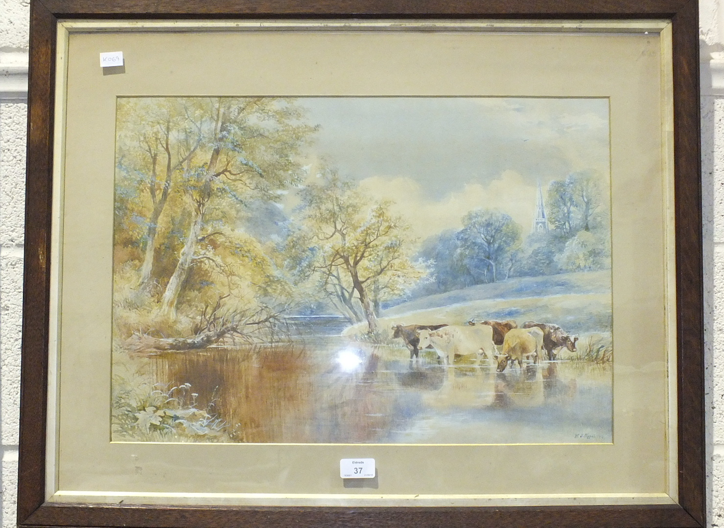 """W V Tippet, """"Cattle in a Stream"""", signed watercolour, dated '79, 39 x 54cm, a framed set of military"""