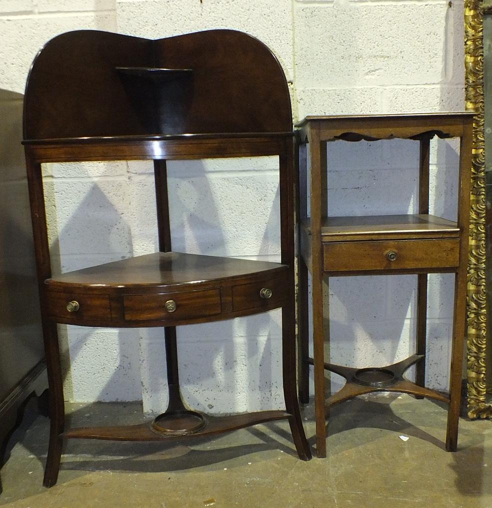 A 19th century mahogany corner washstand, 58cm wide and a 19th century mahogany rectangular three-