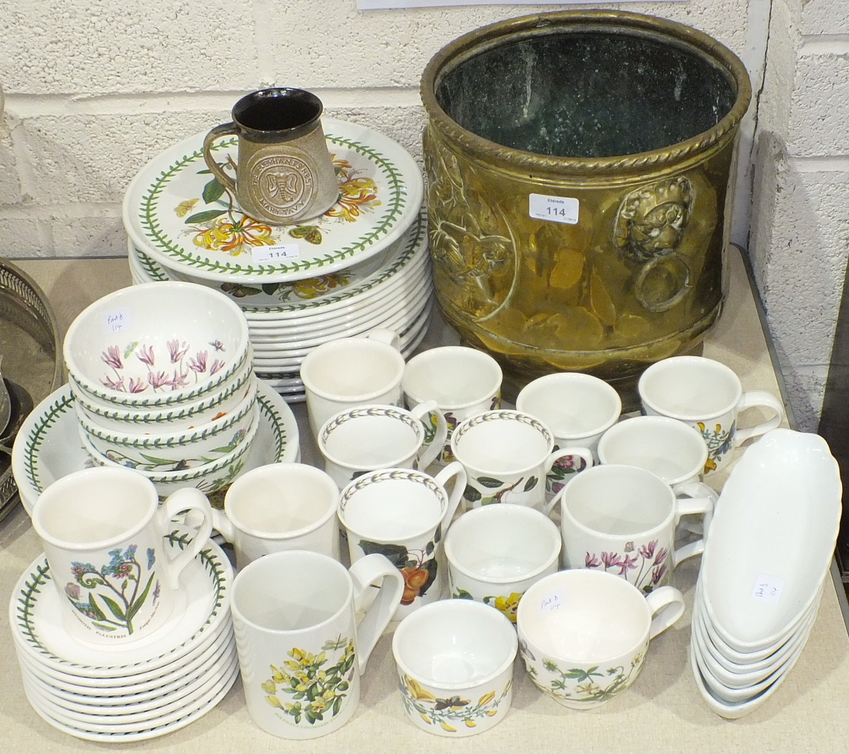 Lot 114 - Approximately forty pieces of Portmeirion 'Botanic Garden' tea and dinner ware and a brass