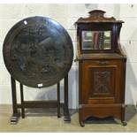 A Hong Kong carved wood folding circular occasional table and a walnut purdonium, (2).