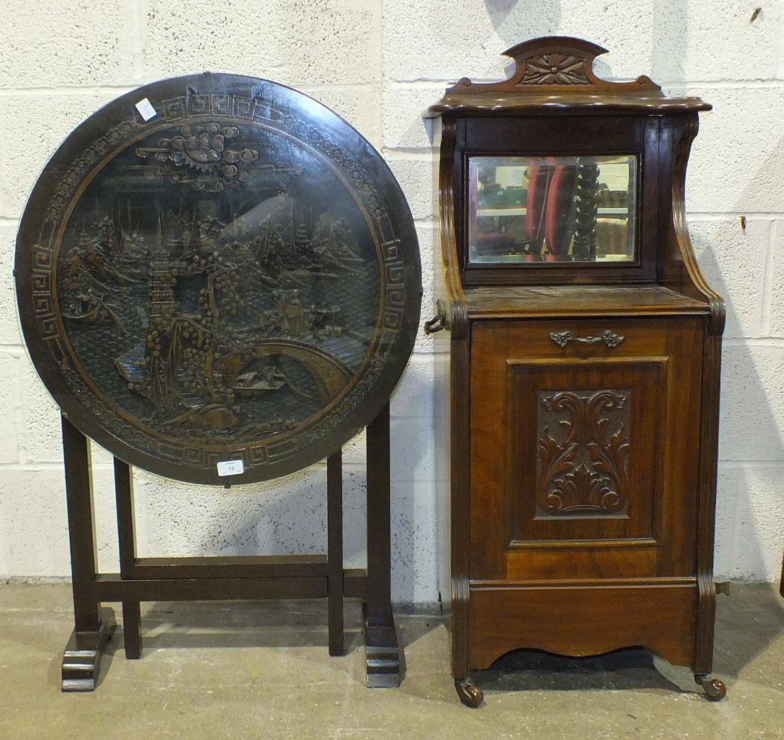 A Hong Kong carved wood folding circular occasional table and a walnut purdonium, (2).