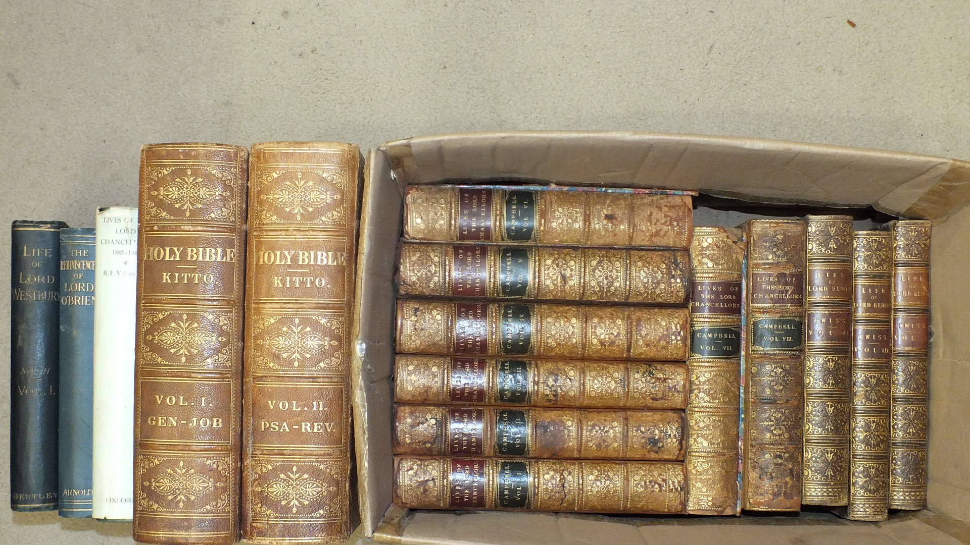 The Illustrated Family Bible, ed: John Kitto, 2 vols, eng plts. cf gt, 4to, nd; Twiss (Horace),