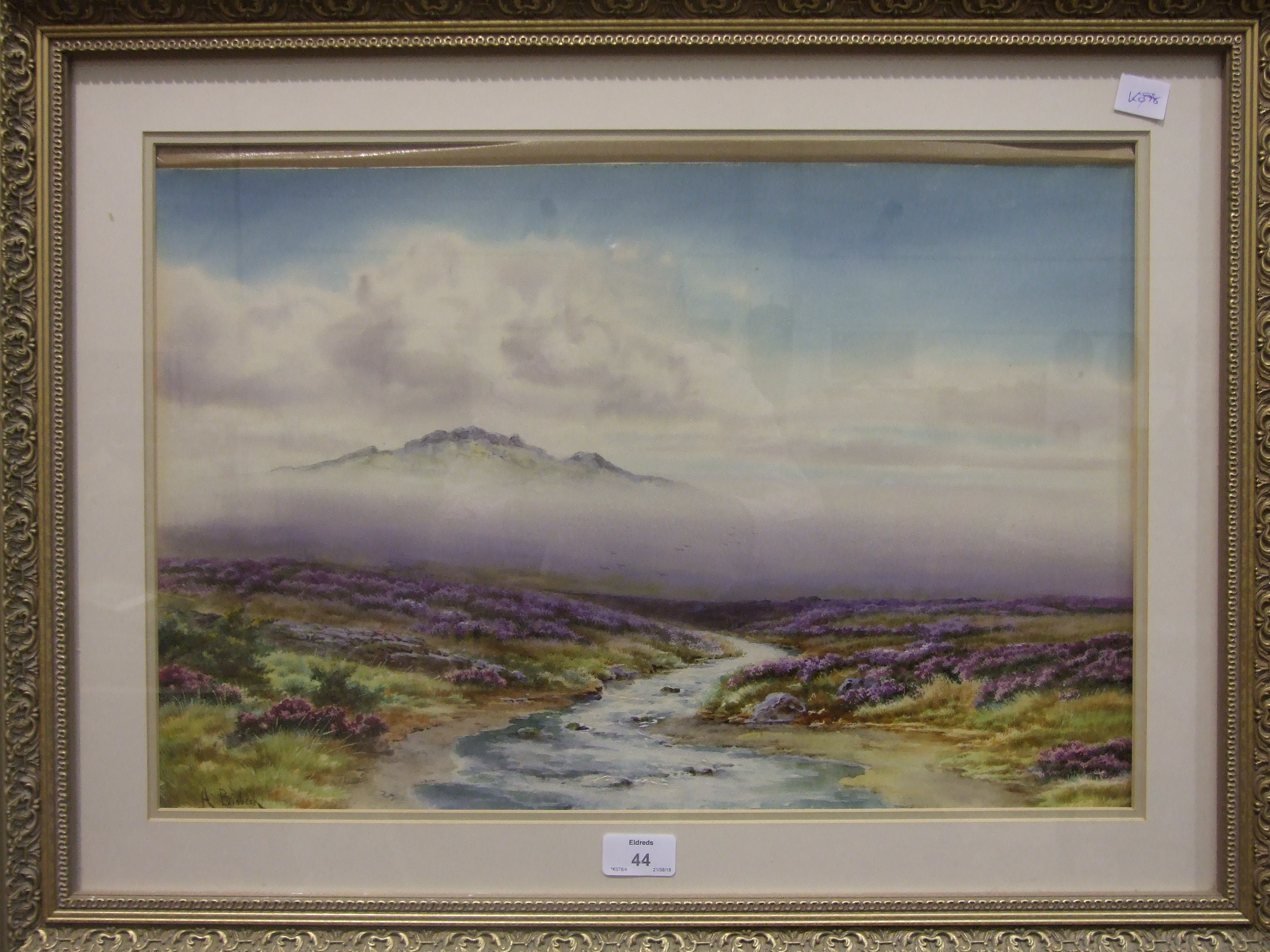 """A Binbeck, """"Moorland Stream"""", signed watercolour, 34 x 51cm and a companion, a pair, together with a"""