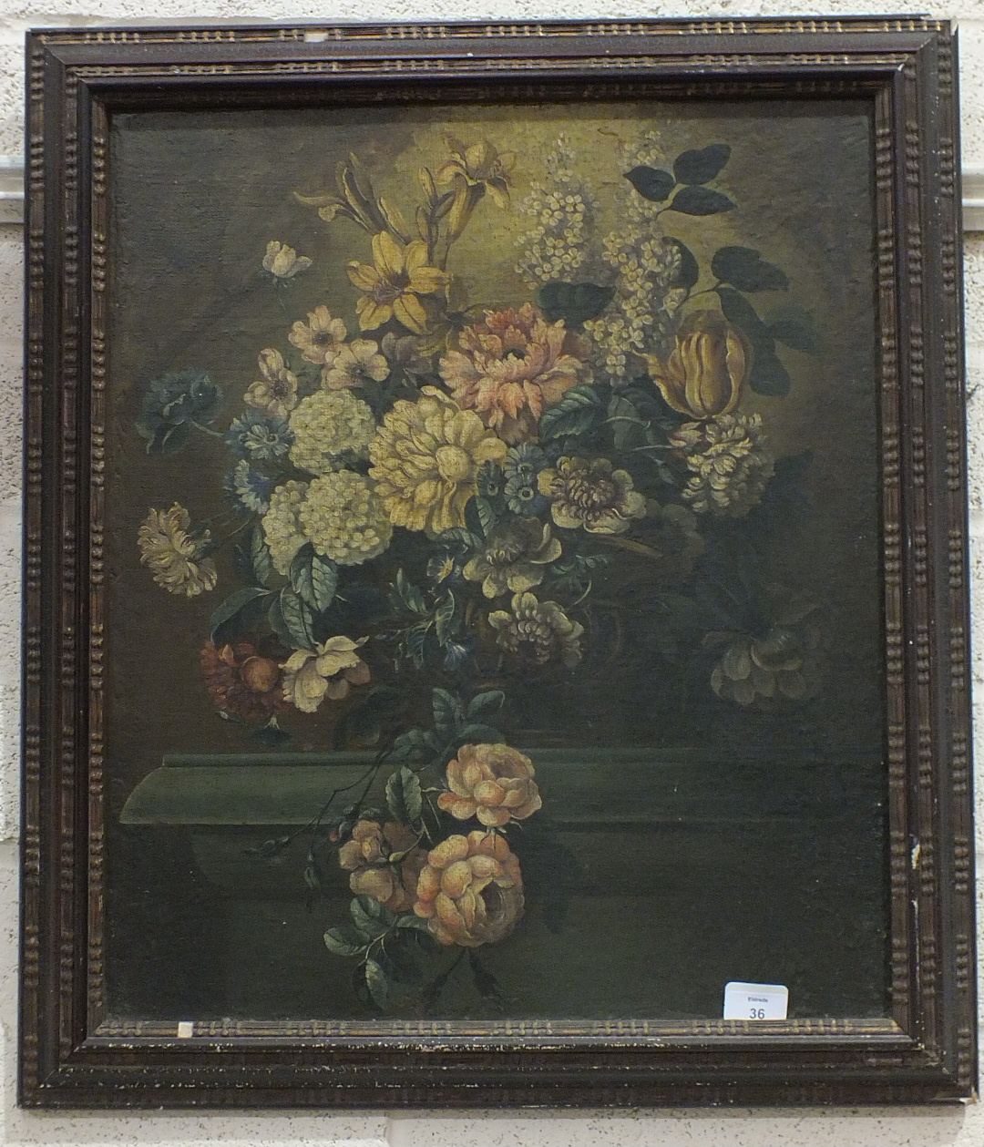 """19th Century Continental School, """"A Vase of Flowers Standing on a Plinth"""", oil on canvas, old re-"""