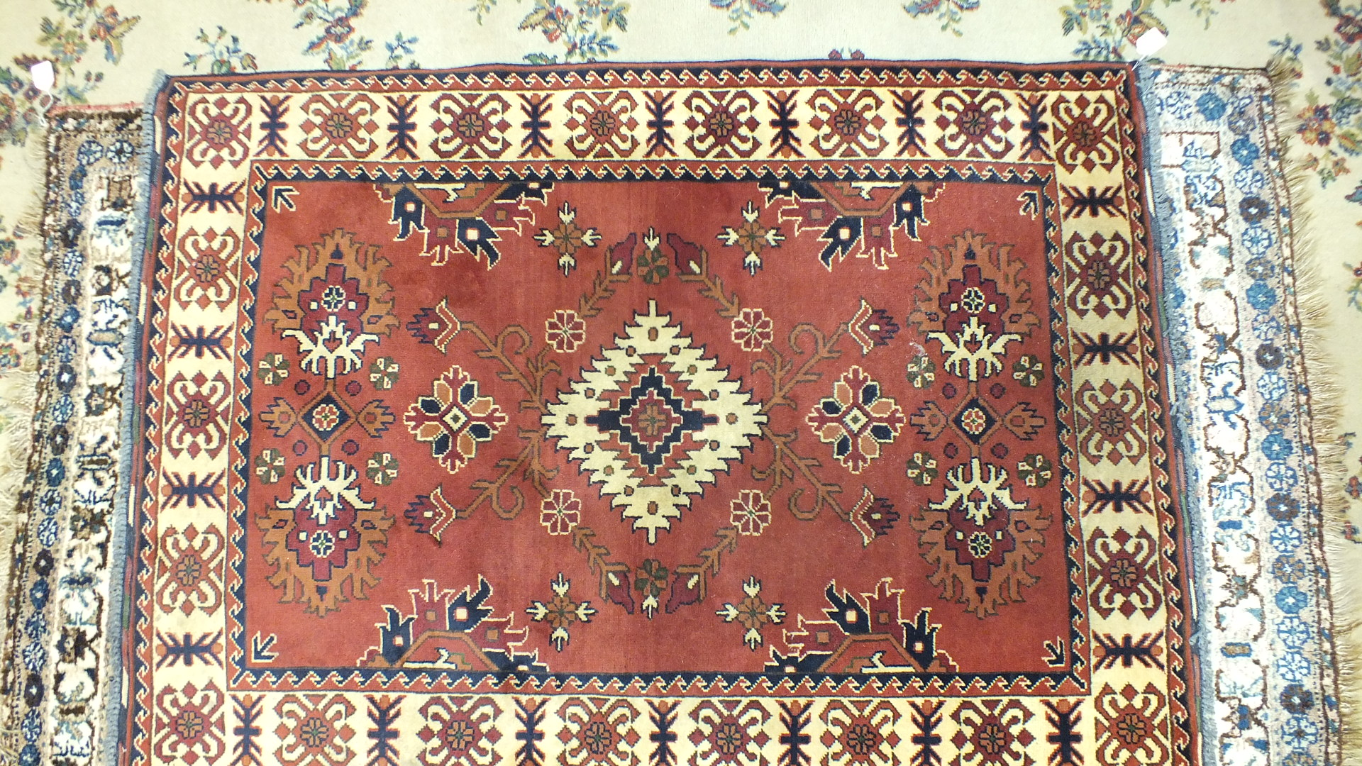 Lot 34 - A modern Kargayee rug, 155 x 110cm and another rug, (2).