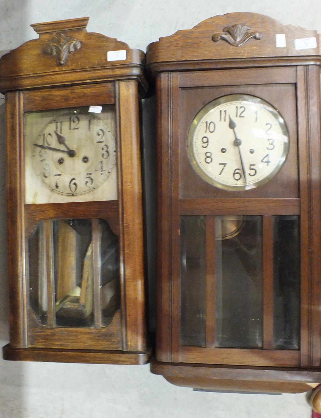 Two oak-cased striking wall clocks, 76cm, (2).