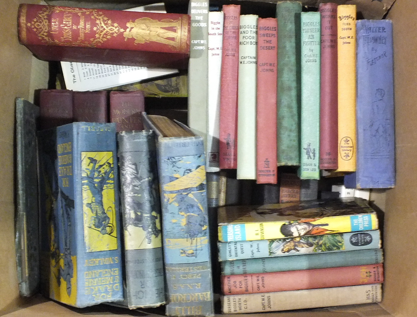 Lot 43 - A quantity of books, including WE Johns Biggles volumes, (no dust jackets) and Percy F Westerman.