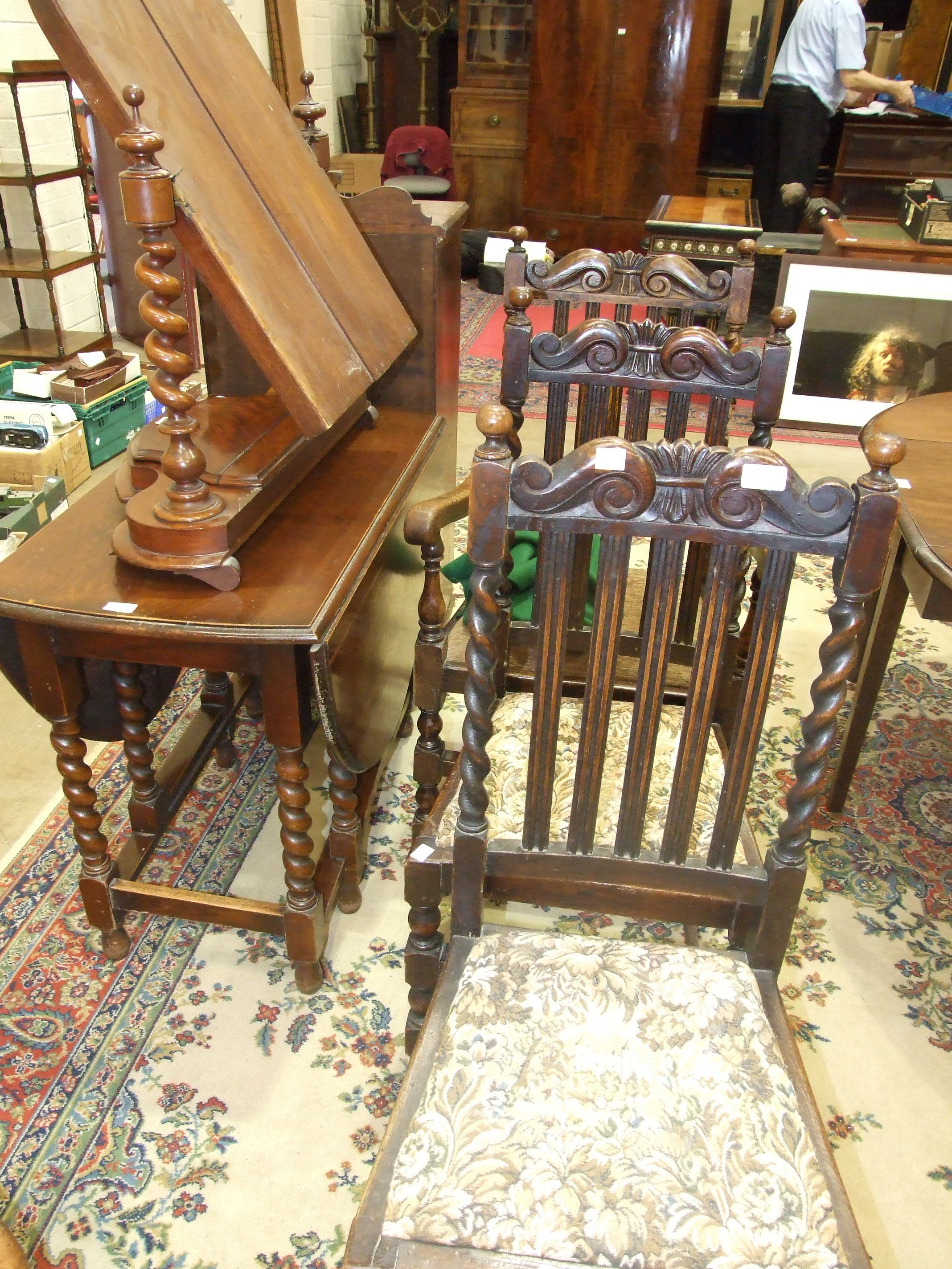 Three 1930's oak dining chairs, a barley-twist drop leaf table and a Victorian dressing table - Image 2 of 2