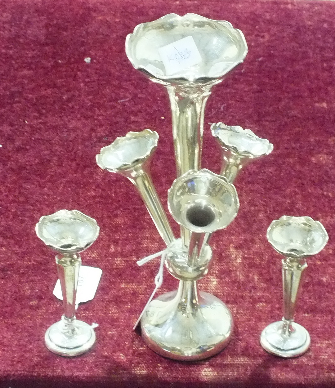 Lot 187 - A silver four-branch trumpet shaped epergne on circular loaded base, 25.5cm high, Birmingham 1921