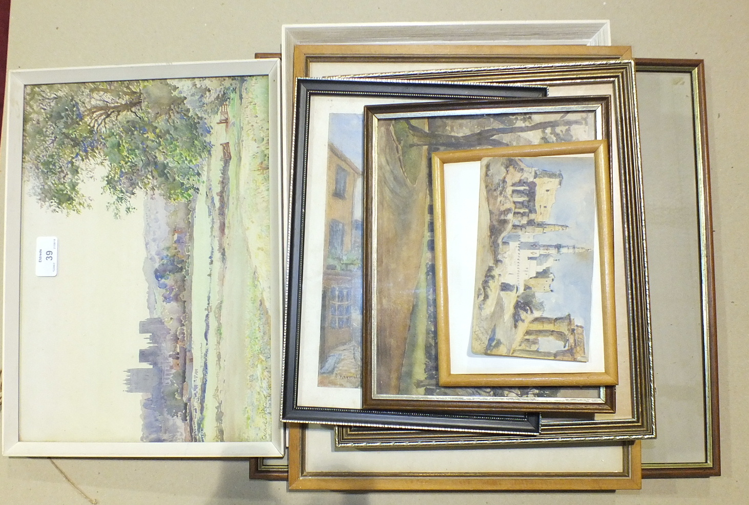 "A framed watercolour, ""Wells Cathedral"", 25 x 35cm and other pictures."