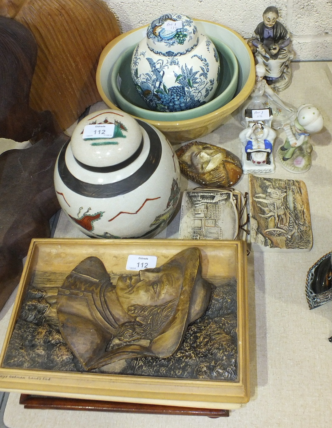 Lot 112 - A collection of six Osborne plaques, a Mason's 'Fruit Basket' decorated ginger jar and cover, a TG