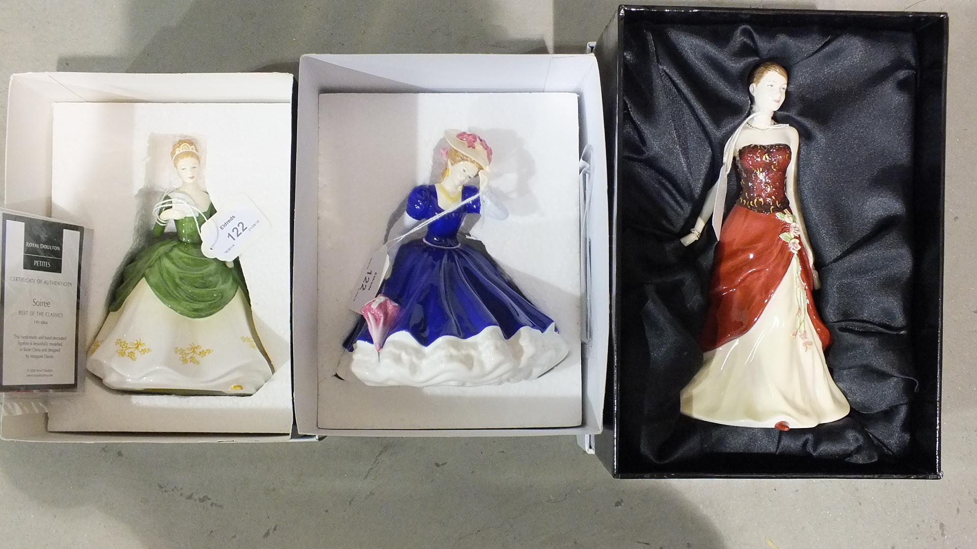 Lot 122 - Royal Doulton Pretty Ladies: Emily, HN4817, Soiree, HN4864 and Mary, HN4802, all boxed.