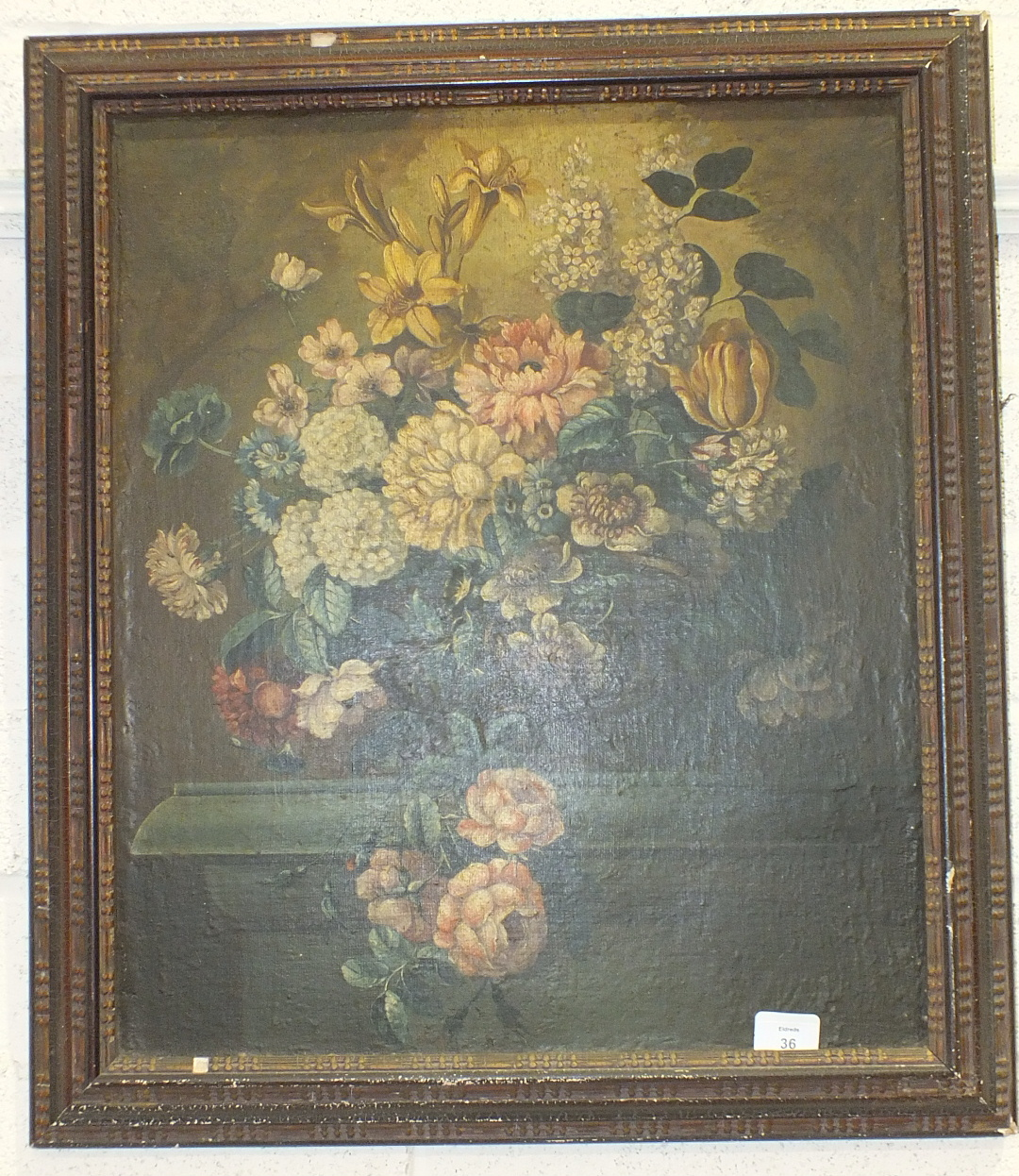 """19th Century Continental School, """"A Vase of Flowers Standing on a Plinth"""", oil on canvas, old re- - Image 2 of 2"""