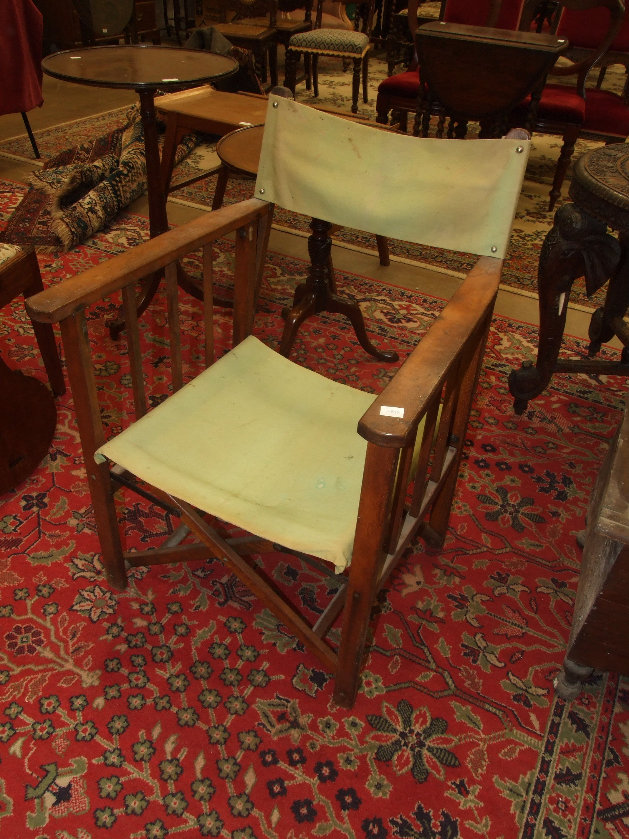 A vintage stained wood folding deck chair/pilot's chair with canvas back and seat. (Belonged to a - Image 3 of 3