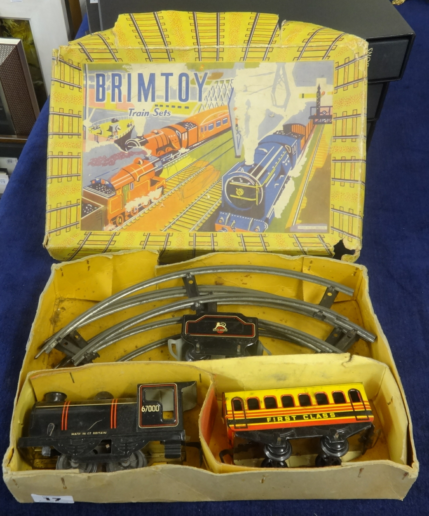 Lot 017 - Brim Toy, tin plate train set, boxed.