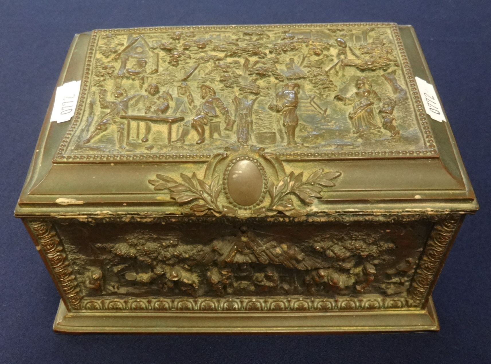 Lot 023 - 19th century metal jewellery box, richly decorated relief, by AB Paris and retailed by Asser and