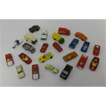 Lot 002 - Two trays of playworn, Matchbox and Corgi junior toys etc (approx 50 items).