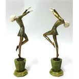 Lot 008 - Lorenzi, a pair of bronze art deco figures of Dancing Girls, stamped 'Lorenzi, made in Austria, Real