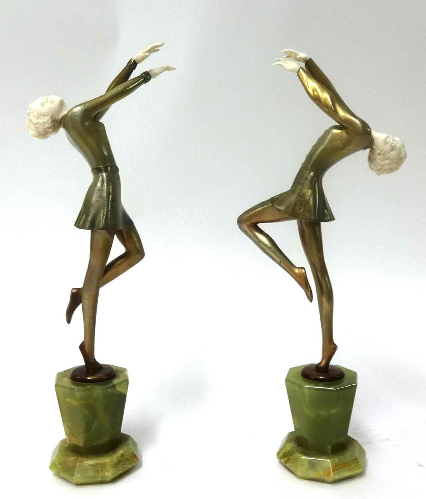 Lot 008 - Lorenzi, a pair of bronze art deco figures of Dancing Girls, stamped 'Lorenzi, made in Austria, Real