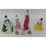 Lot 014 - Two Royal Doulton figures including Premier HN 2343, Corallie HN 2307 also Royal Worcester figurines
