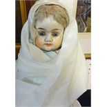 Lot 042 - An early 20th Century German composition doll, blue fixed eyes, closed mouth (with under dress