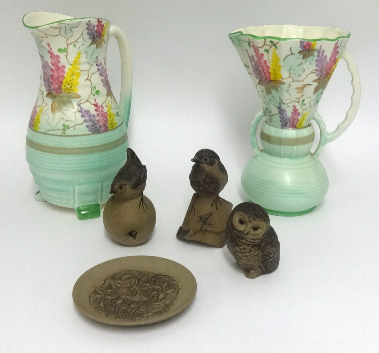 Lot 016 - Pair of Art Deco style pottery vases also four unglazed Poole Pottery ornaments (6).