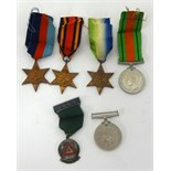 Lot 019 - Five WWII medals including The Atlantic Star, also 1964 five years drivers award medal and ribbons.