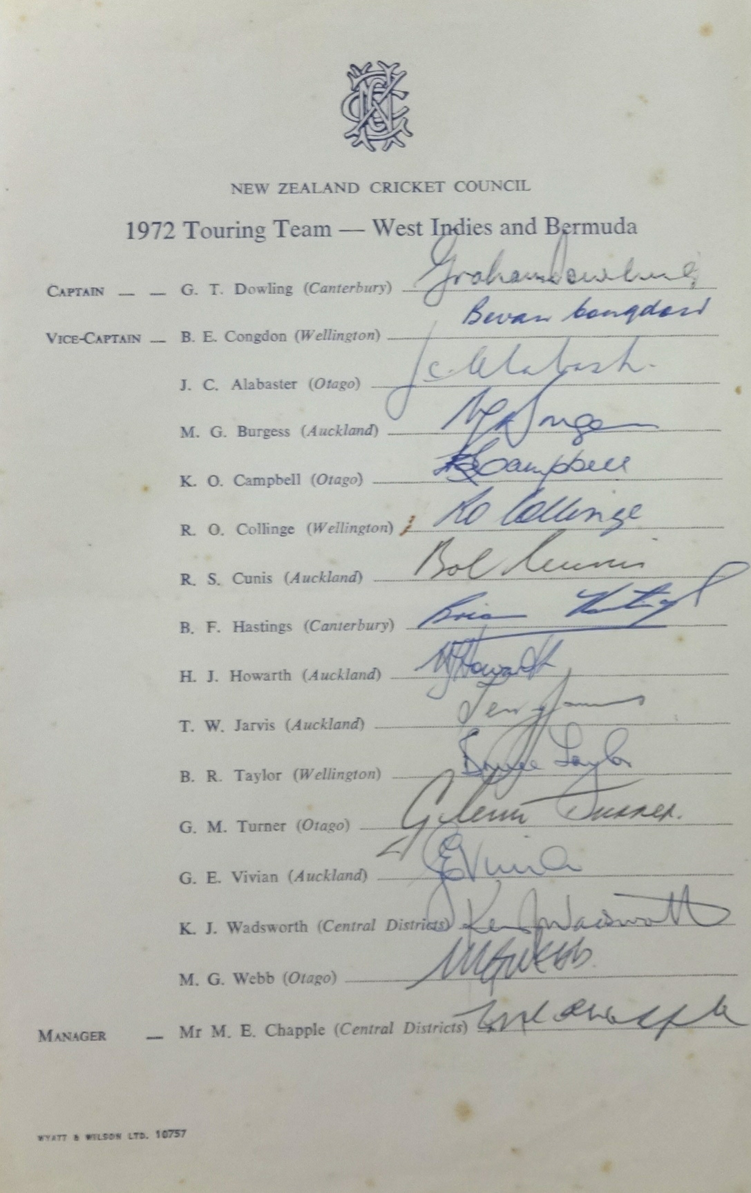 Lot 058 - Of Cricket interest, an original signed touring sheet of the 1972 New Zealand cricket tour of West