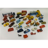 Lot 3 - A box of thirty nine playworn and repainted Dinky Toys and Corgi Toys etc.