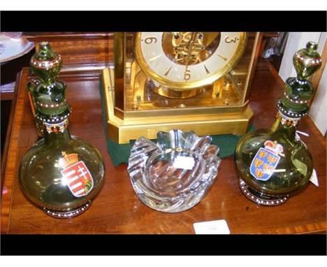 A French Vannes studio glass 'shell' pin dish, together with a pair of Egermann and Lobmeyr painted green glass bottles with
