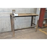 "57"" x 24"" x 1 1/4"" Thick Steel Work Table with No. 140 4"" Bench Vise"