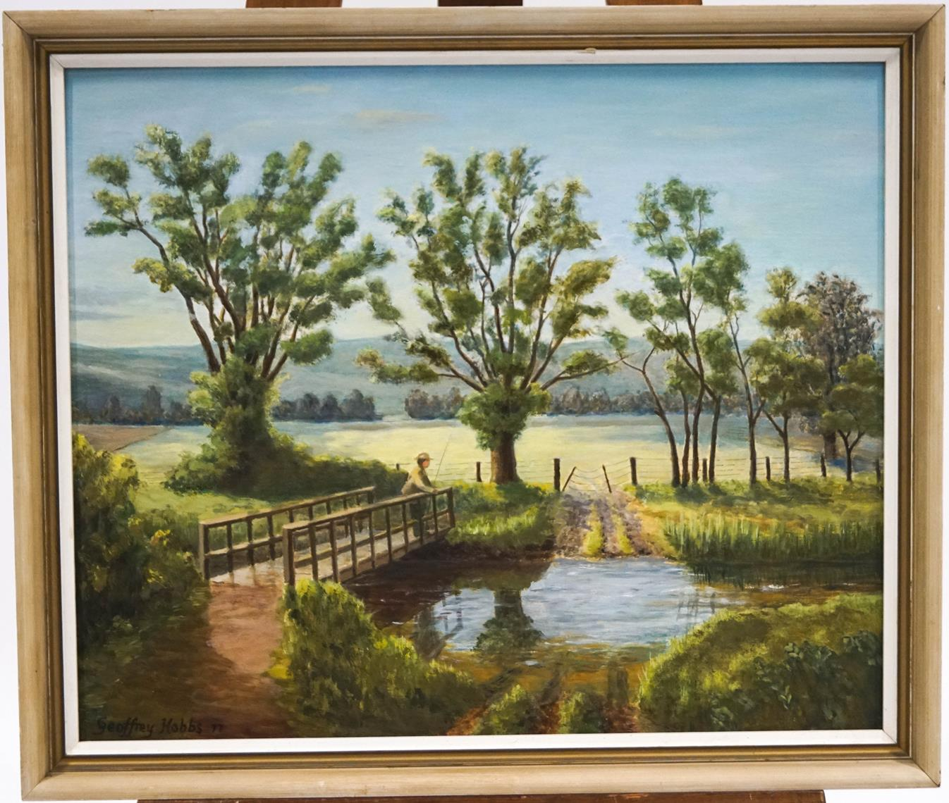 Lot 16 - Geoffrey Hobbs Fly Fishing Oil on board Signed and dated '77 48.