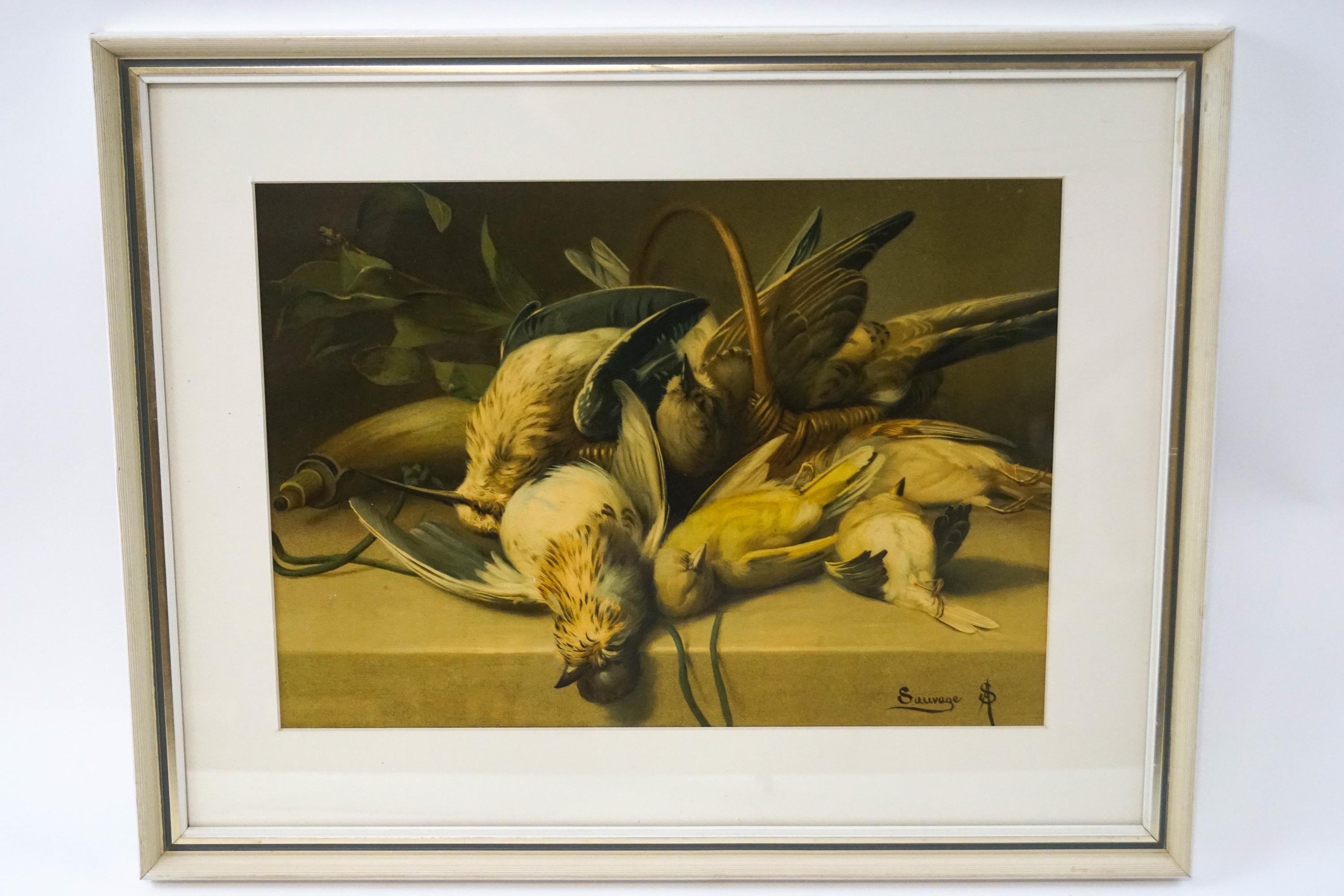 Lot 8 - After Arsene Sauvage (19th century French) 'Dead Gamebirds' Early 20th century print on board 25cm