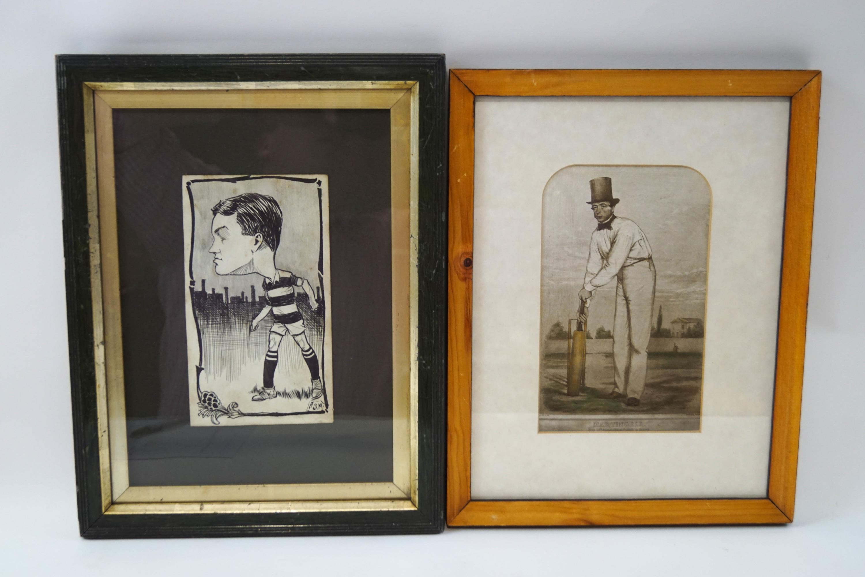 Lot 37 - A pen and ink drawing of a rugby/football player, early 1900's Signed lower right 18.