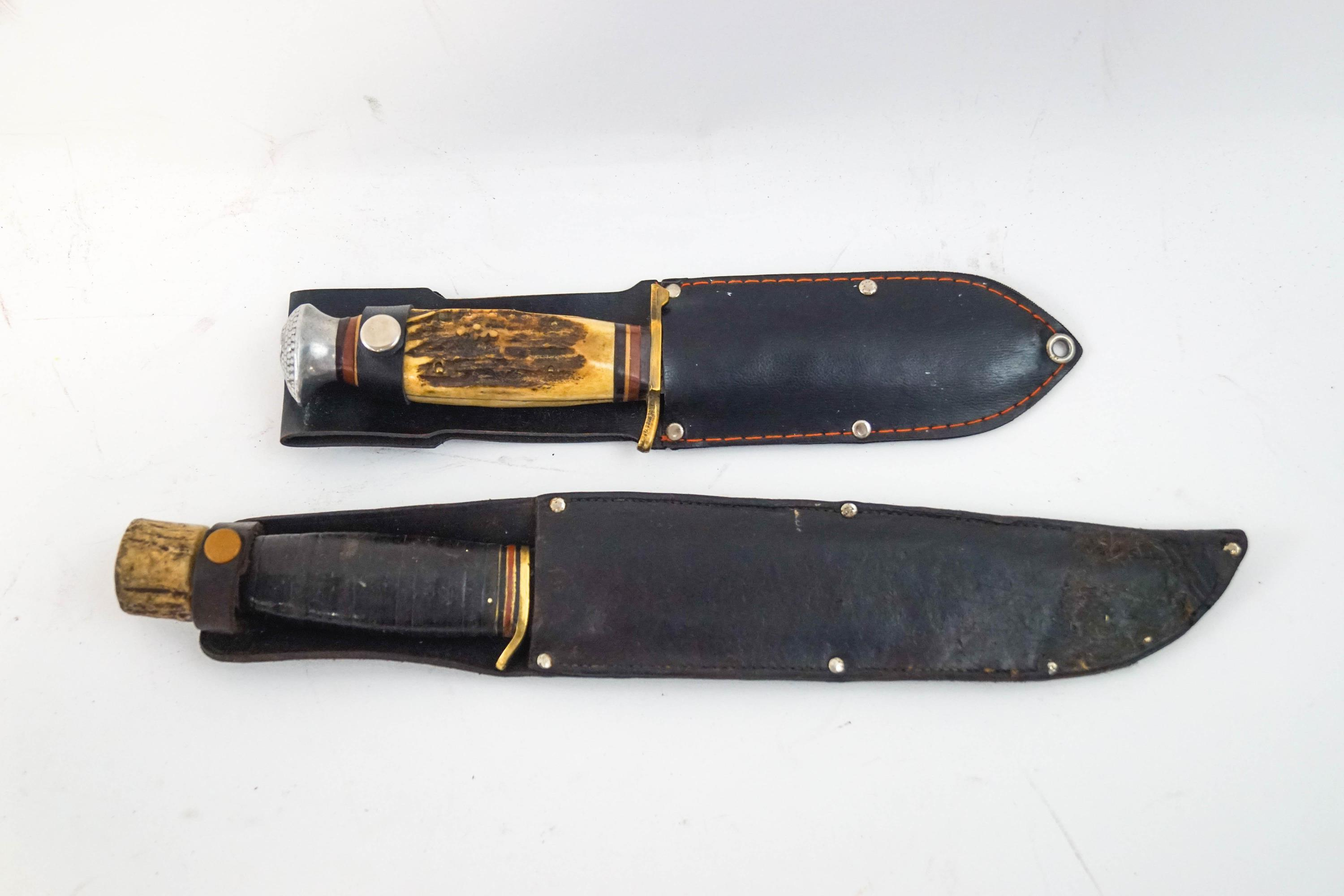 Lot 44A - A horn and leather handled hunting knife and another