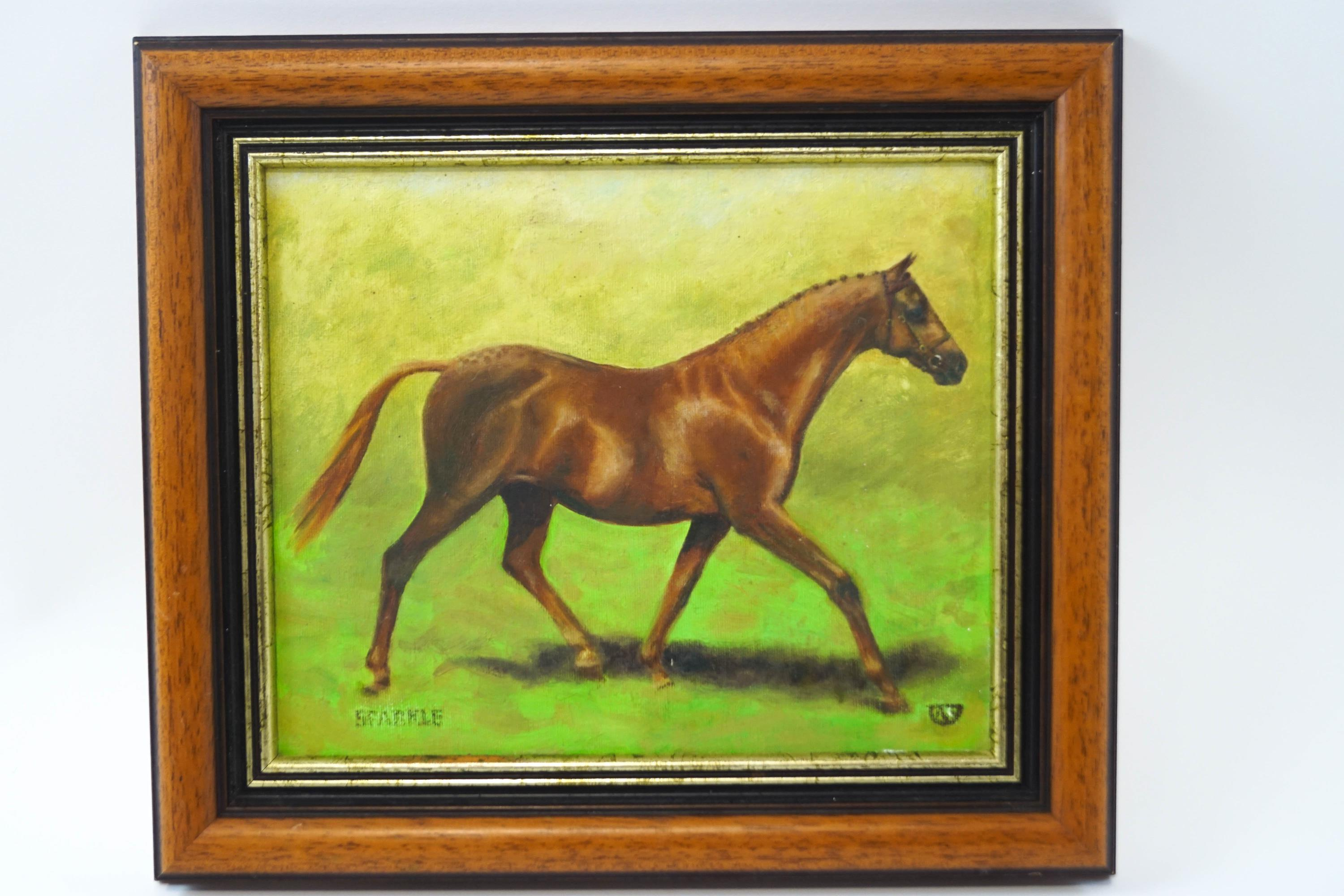 Lot 12 - English School, 20th century Racehorse Oil on canvas Indistinct monogram 23.