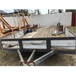 "Trailer 2 axle 20ft. with tires and mud guard. Metal stake perimeter about 12"" high. Wood plank plat"