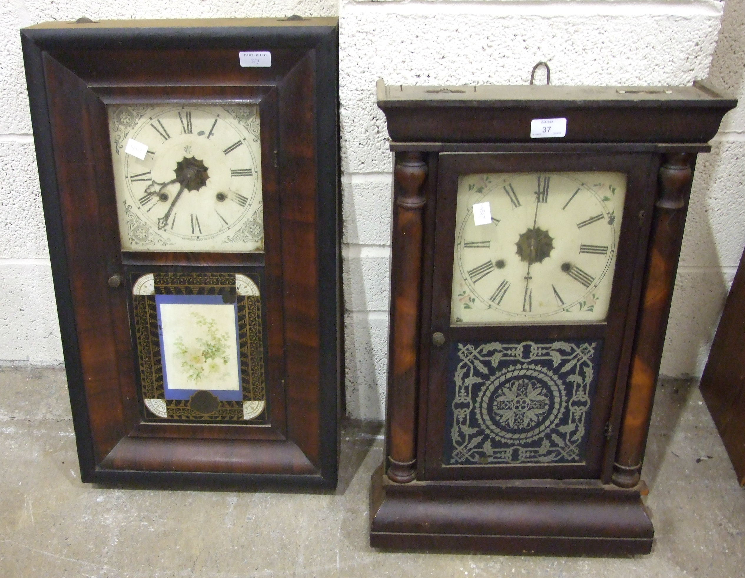 Lot 37 - A striking wall clock with inlaid case, 90cm high and two American striking wall clocks, (a/f), (