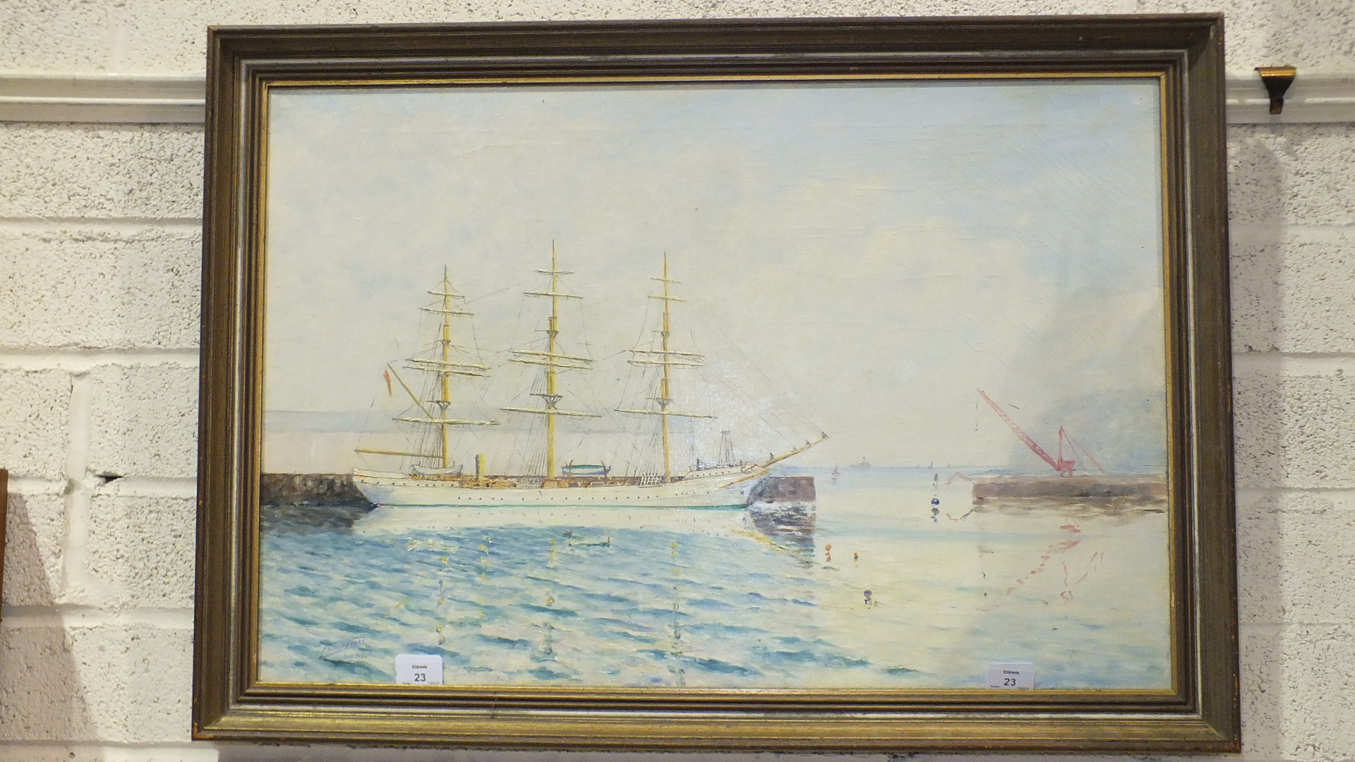 Lot 23 - Phillip Fooks, 'Training Ship Danmark at Millbay Docks, Plymouth', a signed oil on canvas dated