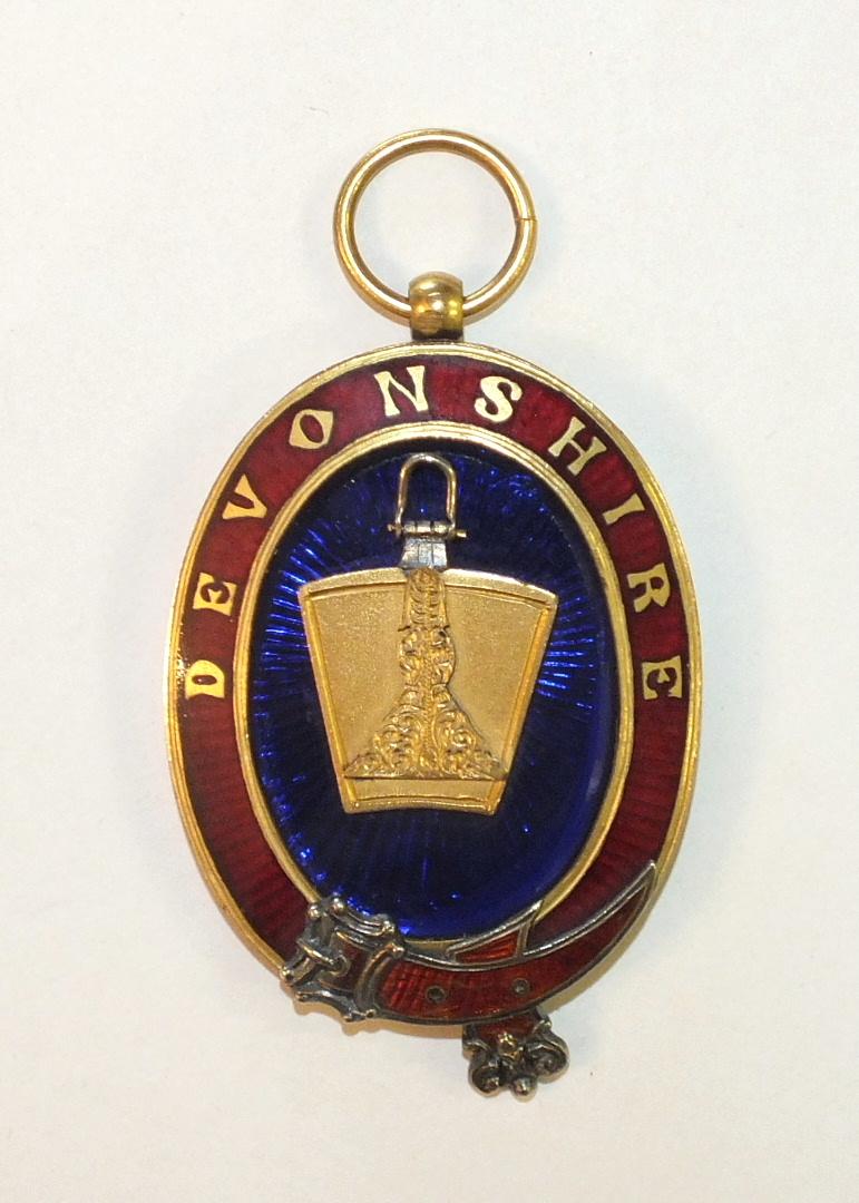 Lot 178 - A gilt metal and enamel Devonshire Mark Masons Grand Senior Wardens jewel, the jewel and stone