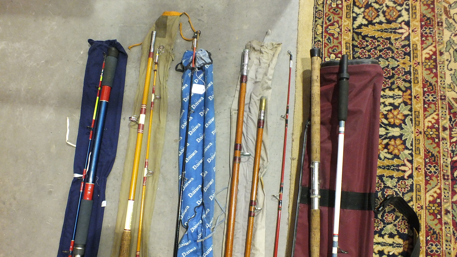 Lot 74 - A collection of six various sea and beach rods