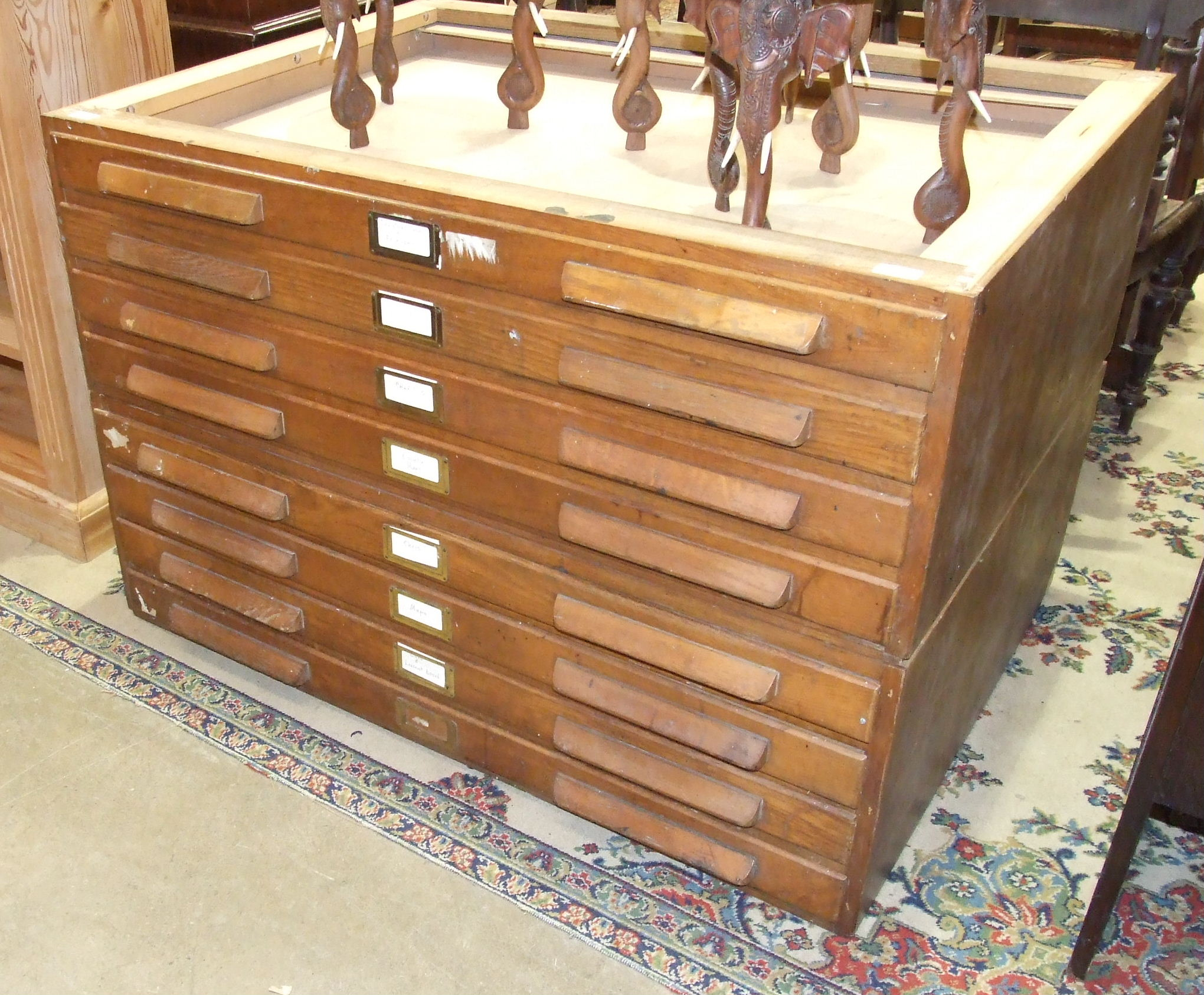 Lot 8 - An oak two-part plan chest, 115cm wide, 76cm high, (top lacking).