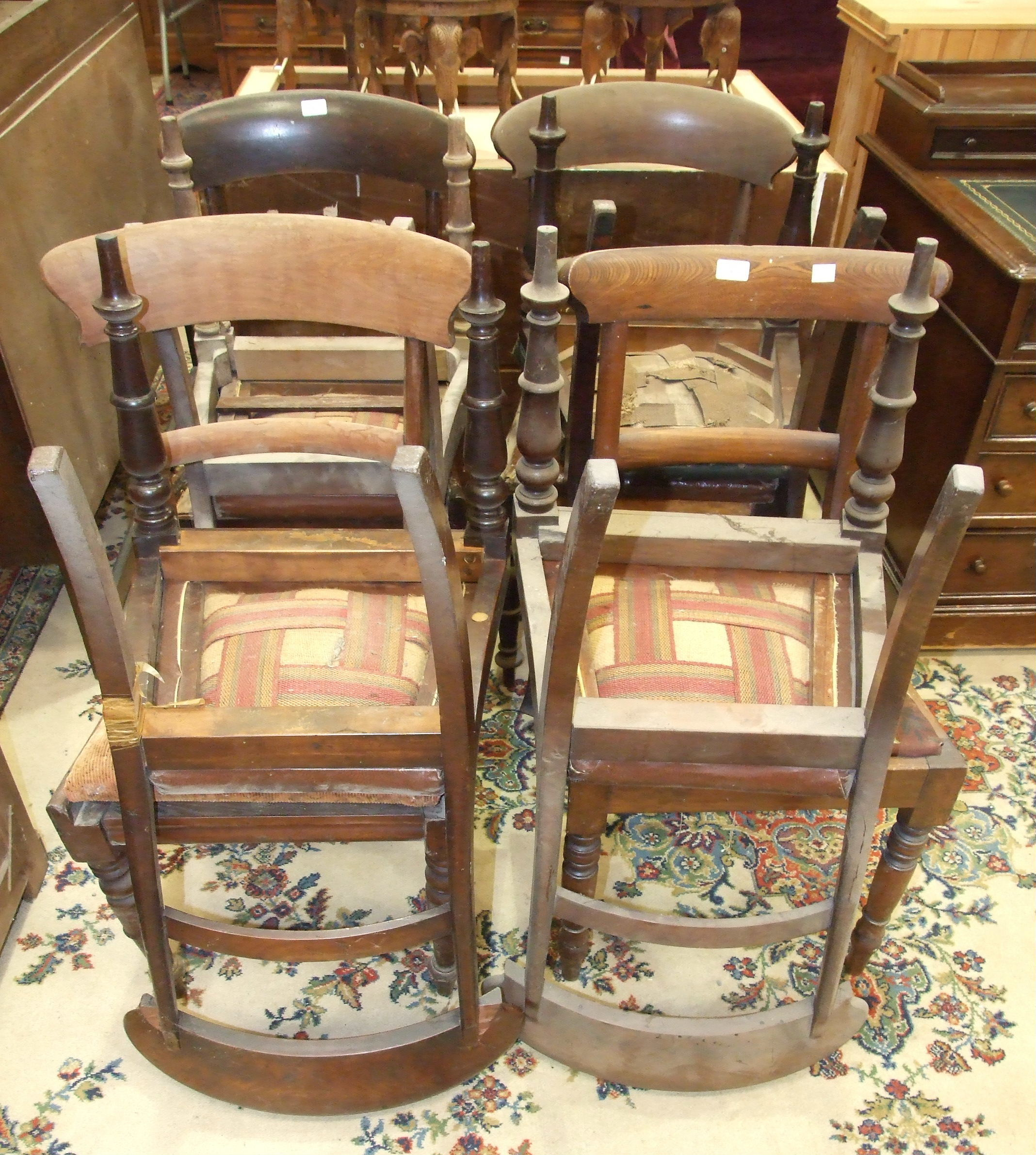 Lot 1 - A collection of eight Victorian mahogany dining chairs.
