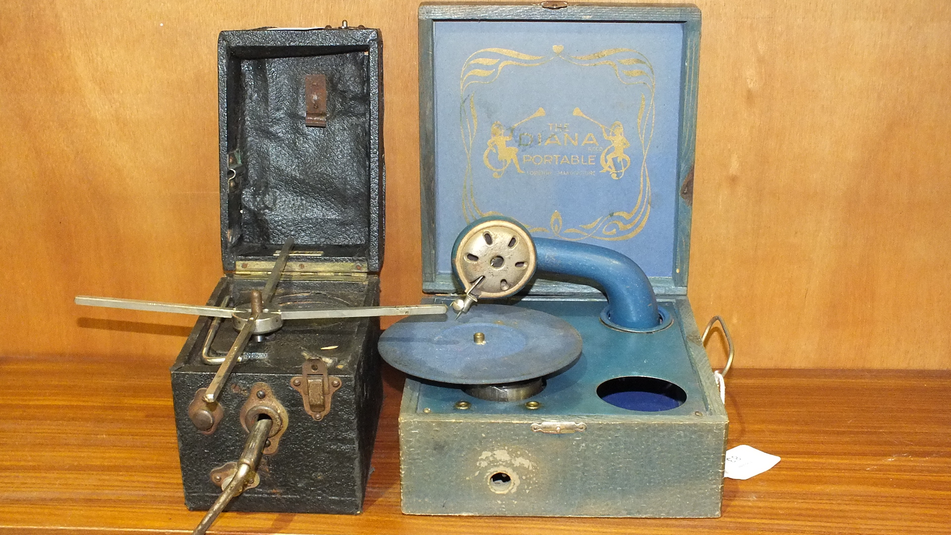 """Lot 83 - An Acott & Co. Ltd picnic gramophone, (incomplete) and a """"Diana Portable"""" gramophone, (both a/f), ("""