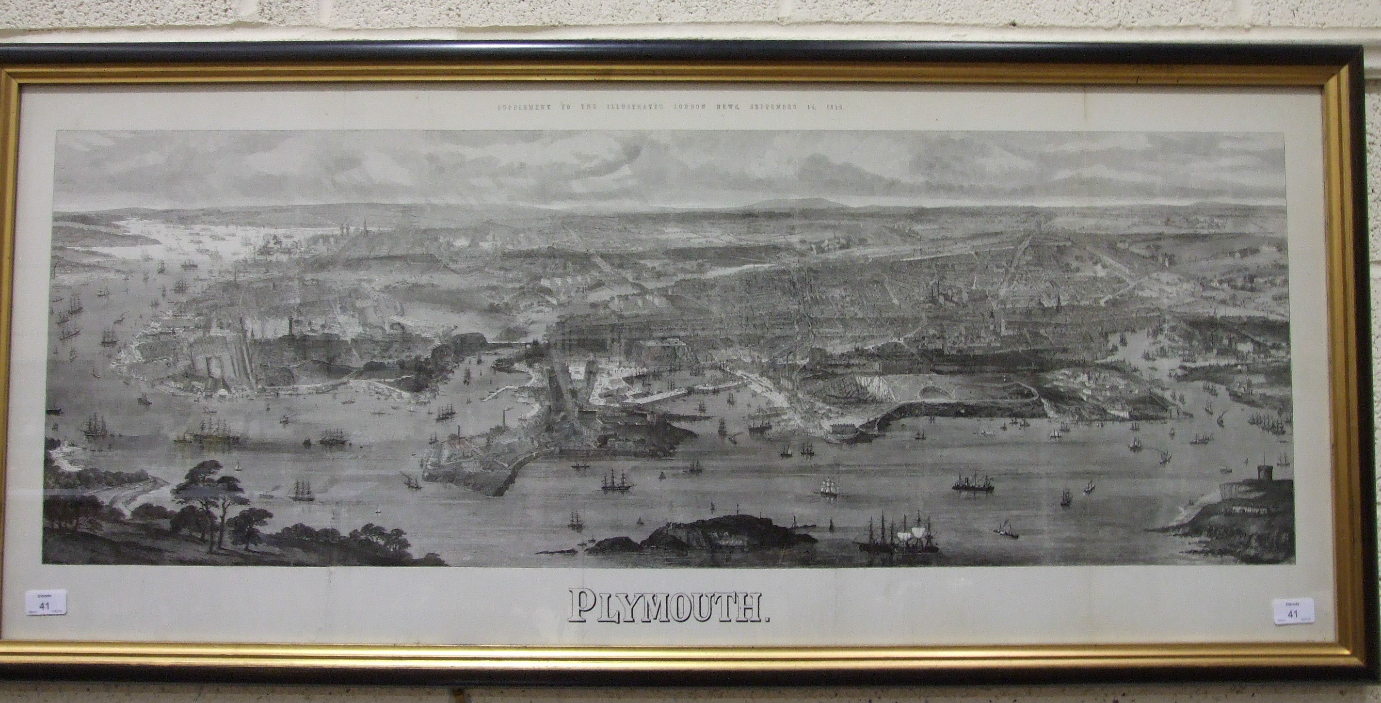 Lot 41 - A framed print, 'Panoramic View of Plymouth', a supplement to The Illustrated London News, September